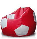 Кресло-мешок Футбольный мяч из искусственной кожи Русроял красного и белого цвета