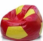 Футбольный кресло-мяч красный с жёлтым