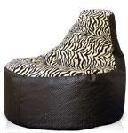Кресло мешок Банан из искуственной кожи и рогожки